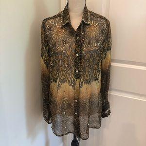 Kay Celine 100% Silk Embellished print top